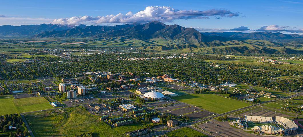 aerial view of Bozeman, Montana in early summer