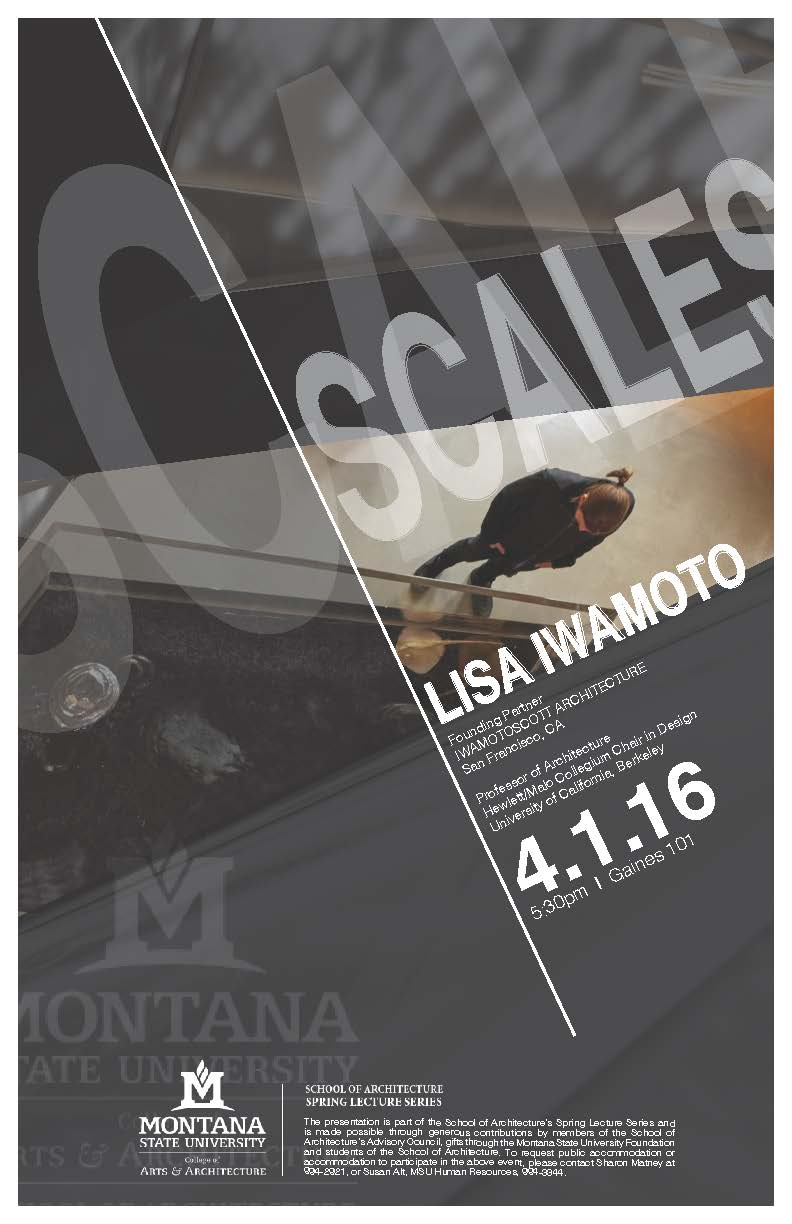 Lisa Iwamoto Lecture poster. The lecture will be held 4-1-2016