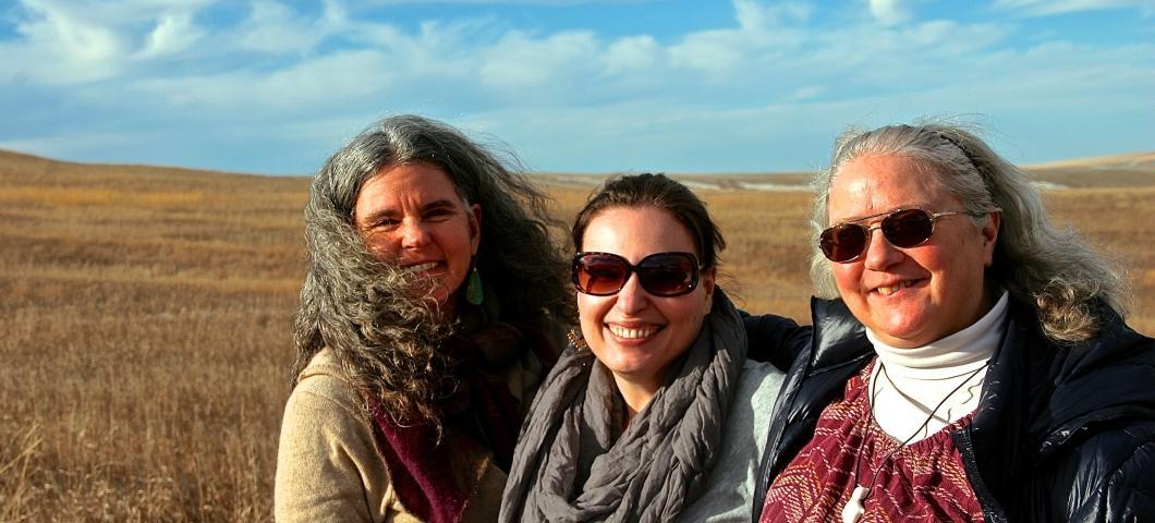 Beth Rink, Monica Skewes, and Elizabeth Bird on the Fort Peck Reservation.