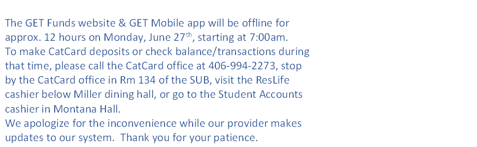 GET website & app will be offline Monday, June 27th from 7:00am to 7:00pm.