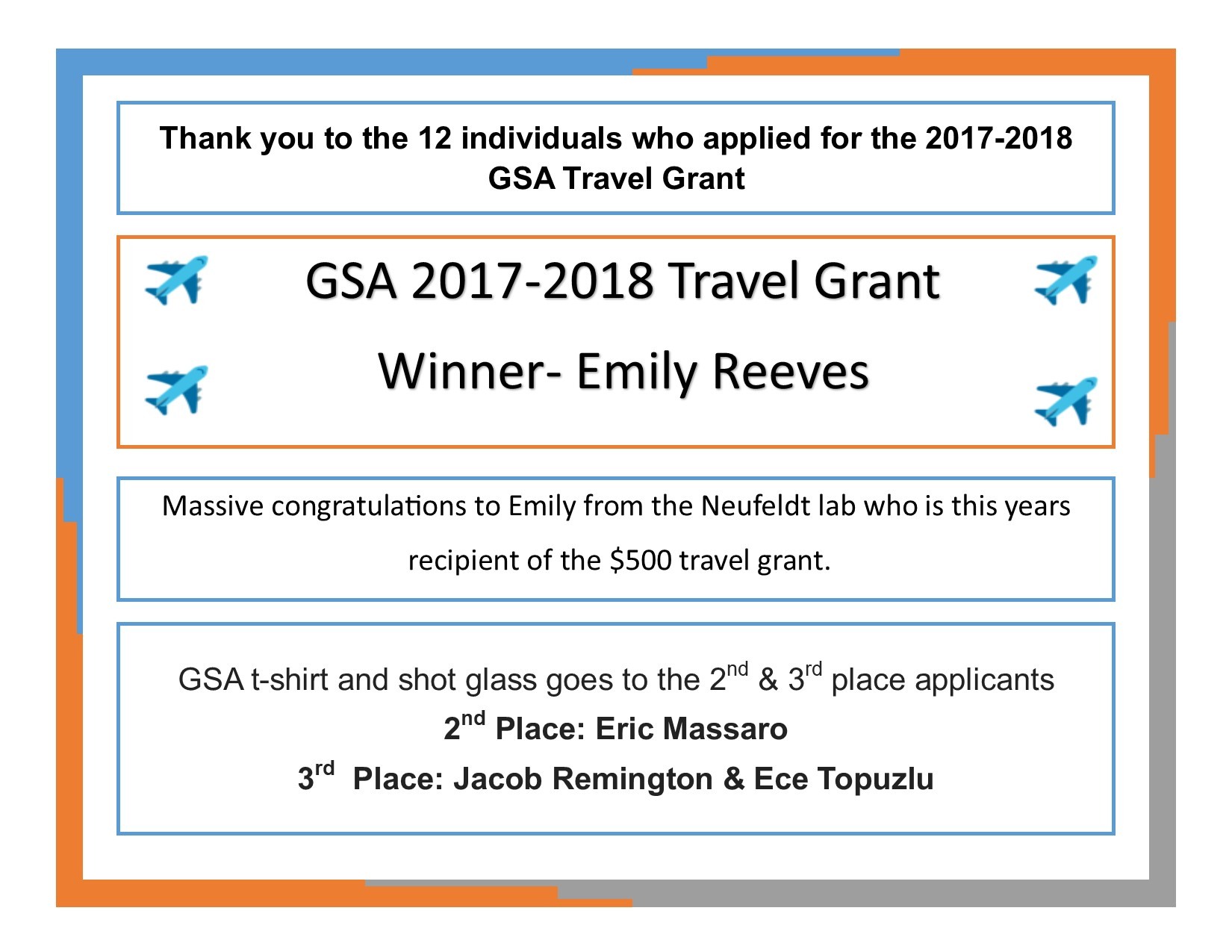 Travel grant winner 1st place Emily Reeves