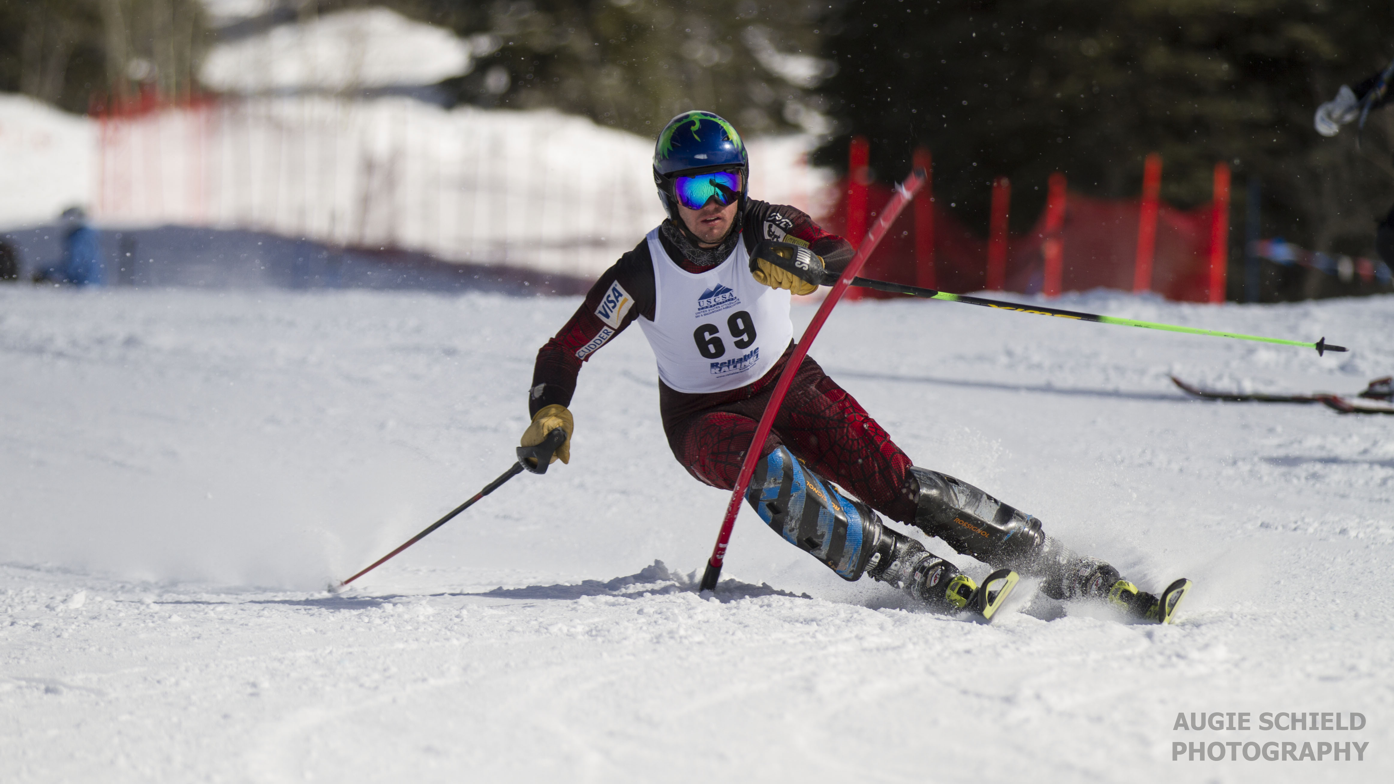 ski team racer on slalom