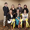 The MSU Wool Judging Team finished fifth at the National Western Judging Contest in Denver. Front row, from left, are Sarah Boyer, Rebecca Gibbs and Leah Nelson. Back row from left are assistant coaches Kendall Green and Karoline Rose, team member Andrew Seleg, and coach Lisa Surber.