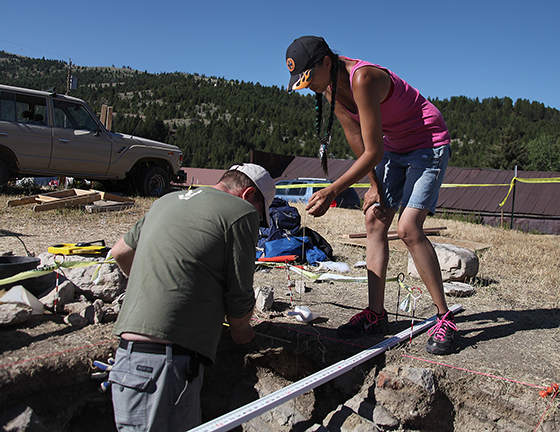 John Olson and Gheri Osborne work at excavating an archaeological site in Virginia City as part of a three-week field course with Montana State University. MSU Photo by Abbey Nelson.