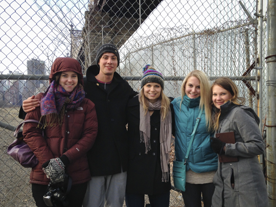A group of engineering and architecture students from Montana State took first in an international field with their submission in an integrated sustainable building design competition. The combined architecture-engineering team, pictured here at their project site in Brooklyn, N.Y., includes: Theresa Lindenau, Martin Reaves,Terra Moran, Mary Peterson and Elyse Casper.