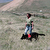 Alice Whitelaw works with Camas training to find the noxious weed dyers woad in Beaverhead County, Montana June 1, 2007. MSU photo by Carol Flaherty