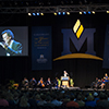 Best-selling author, Yann Martel, addresses the MSU class of 2017 during freshman convocation. Martel's novel Life of Pi was required reading for the freshman class.