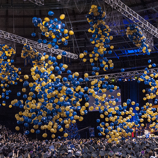Blue and gold balloons mark the fall commencement of the Montana State University class of 2013.