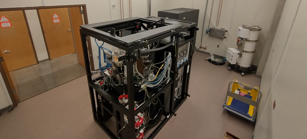 The frame of the microscope int he installation room right after being unboxed