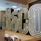 """Image of """"Disco"""" decoration above Strand Union south stairs."""