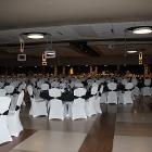 Image of decorated round tables for event.
