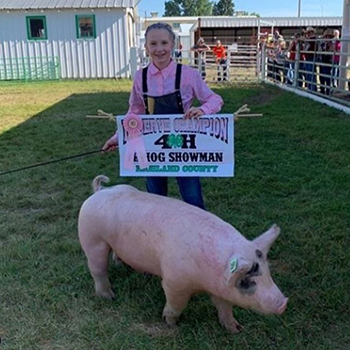 little girl standing behind a pig, holding a certificate at a 4-H auction