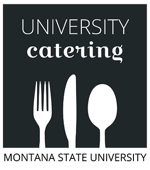 picture of university catering logo with fork, knife, and spoon