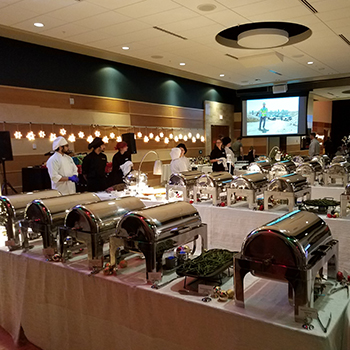 catered buffet event inside an MSU ballroom