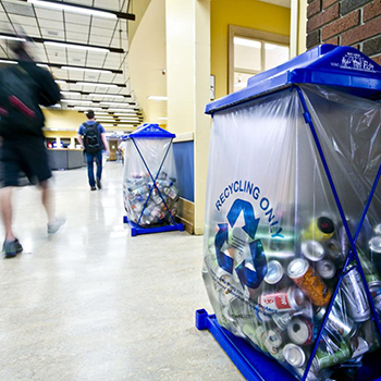 recycling containers in the Strand Union Building