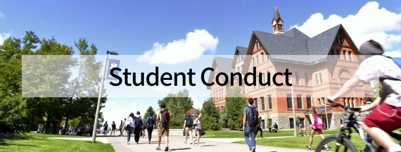 A photo of campus with students walking with the words Student Conduct in black.
