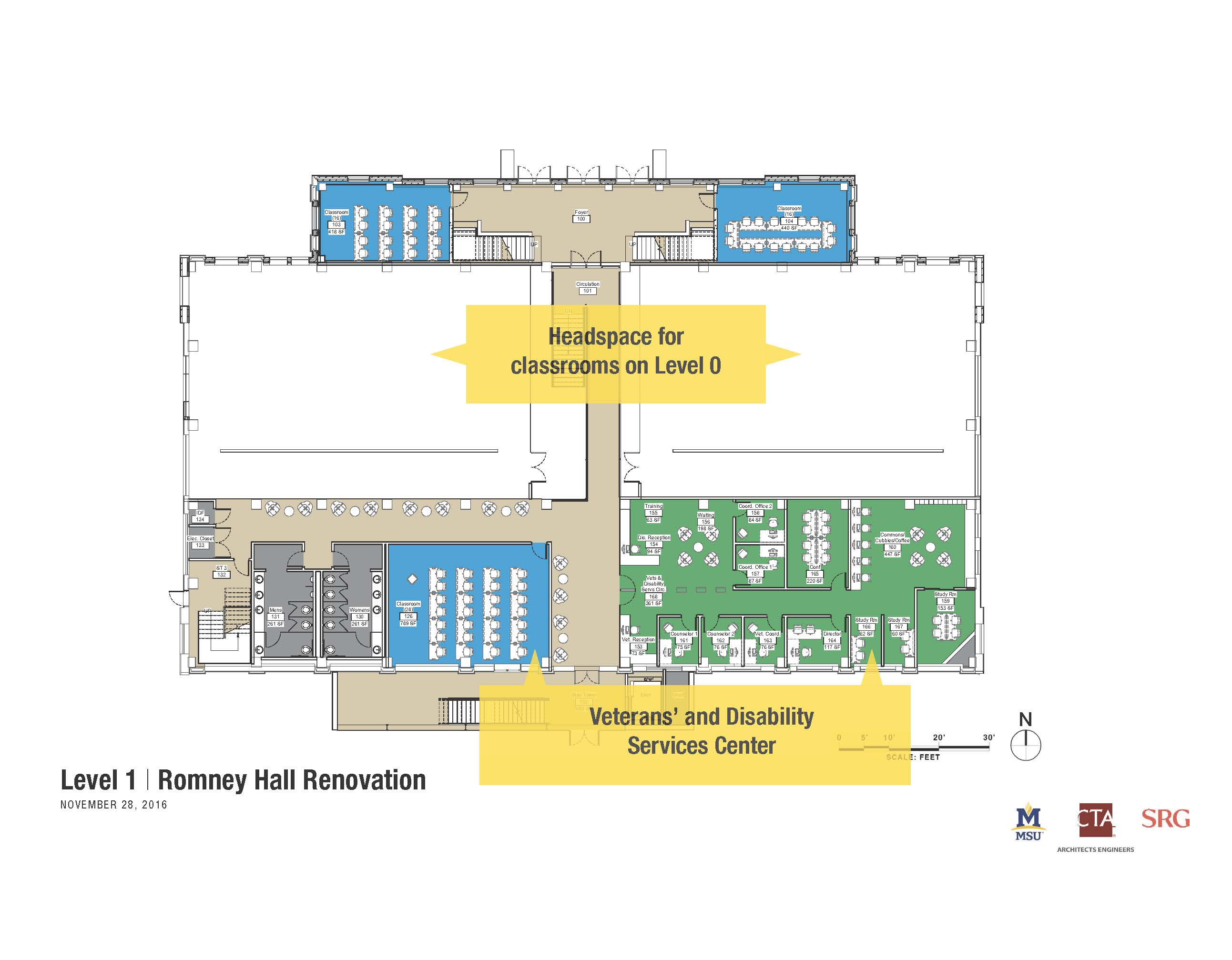 The proposed floor plan for level 1 of Romney Hall where the new Office of Disability Services will be housed.