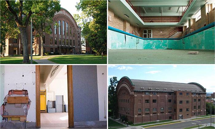 4 Images of Romney Hall. The old pool, a hallway, the front of the building and the back of the building from outside.