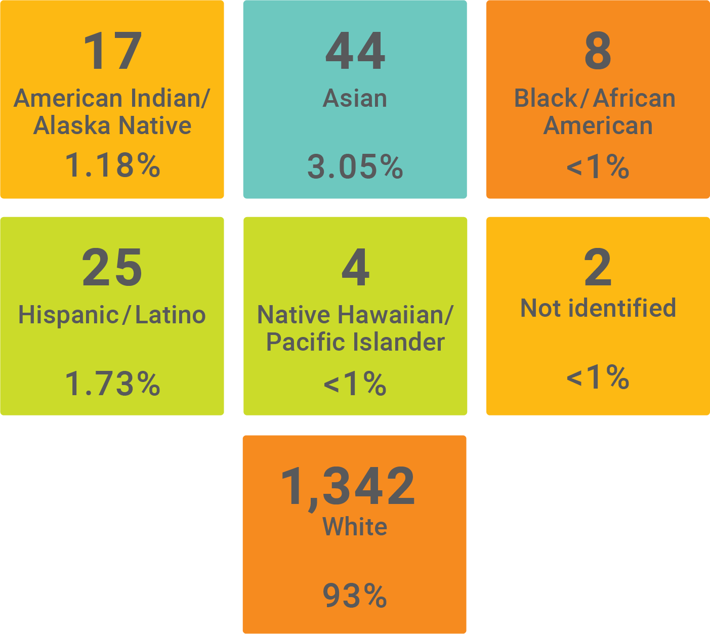 Graphic showing the demographics of faculty by race and ethnicity. American Indian/Alaska Native with 17 at 1.15%, Asian with 44 at 3.05%, Black/African American with 8 at less than 1%, Hispanic/Latino with 25 at 1.73%, Native Hawaiian/Pacific Islander with 4 at less than 1%, Not Identified with 2 at less than 1%, and White with 1,342 at 93%.