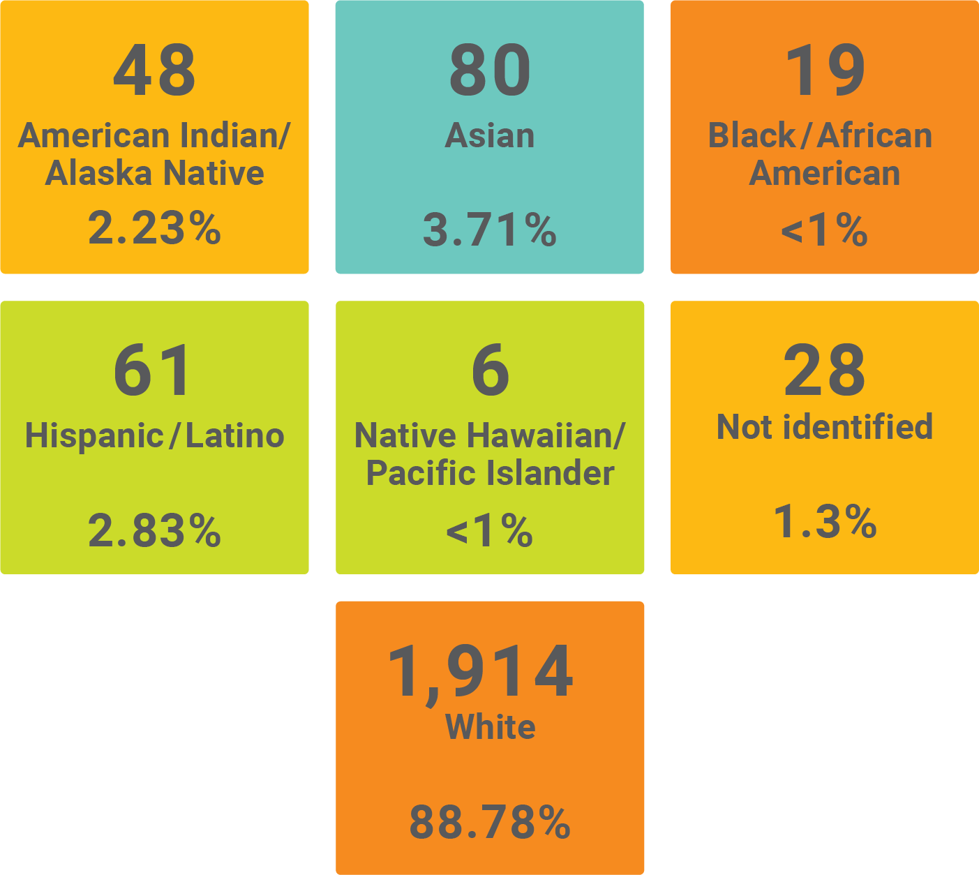 Graphic showing the demographics of staff by race and ethnicity. American Indian/Alaska Native with 48 at 2.23%, Asian with 80 at 3.71%, Black/African American with 19 at less than 1%, Hispanic/Latino with 61 at 2.83%, Native Hawaiian/Pacific Islander with 6 at less than 1%, Not Identified with 28 at 1.3%, and White with 1,914 at 88.78%.