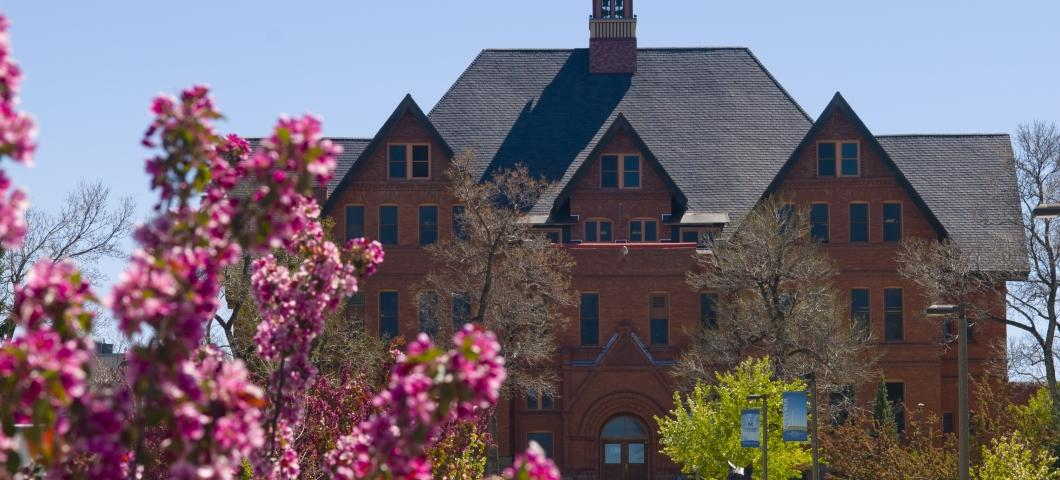 Montana Hall with Flowers