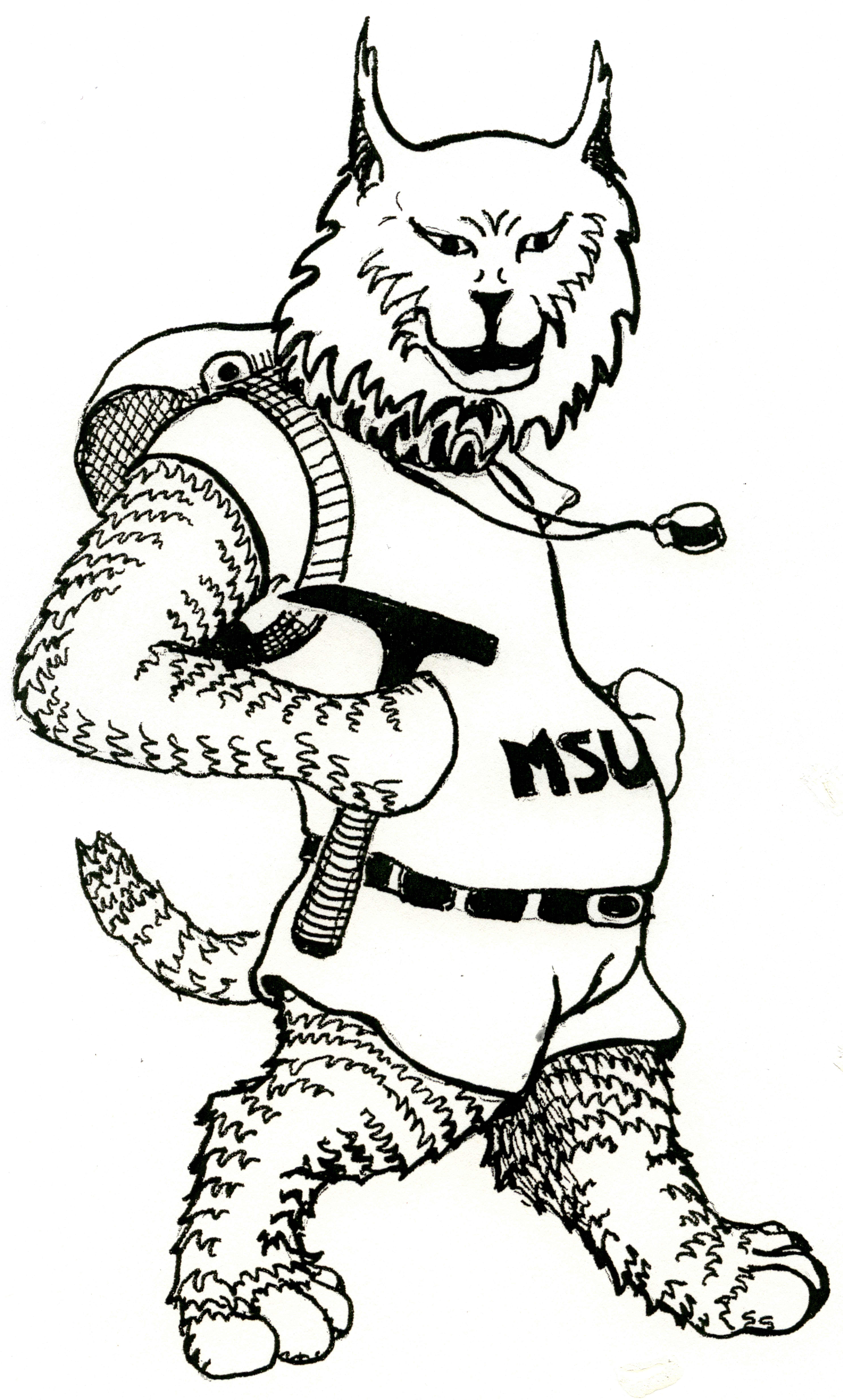 Cartoon image of chubby anthropomorphic bobcat with MSU T-shirt and geology hammer