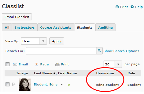 "D2L v10.3 screenshot - the username is displayed under the ""Username"" column"