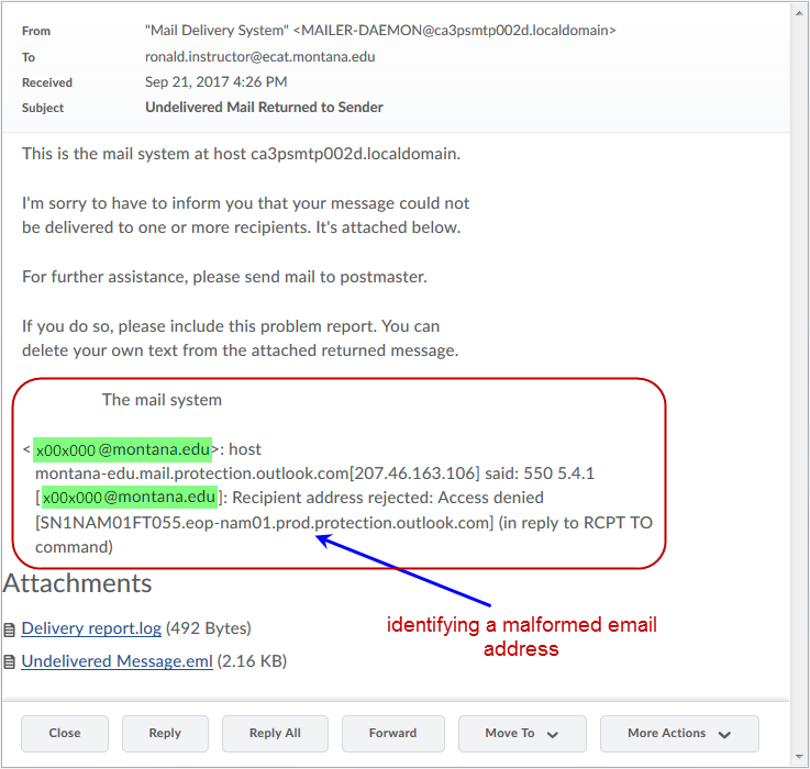 Undelivered email in Brightspace LE - Resources for D2L