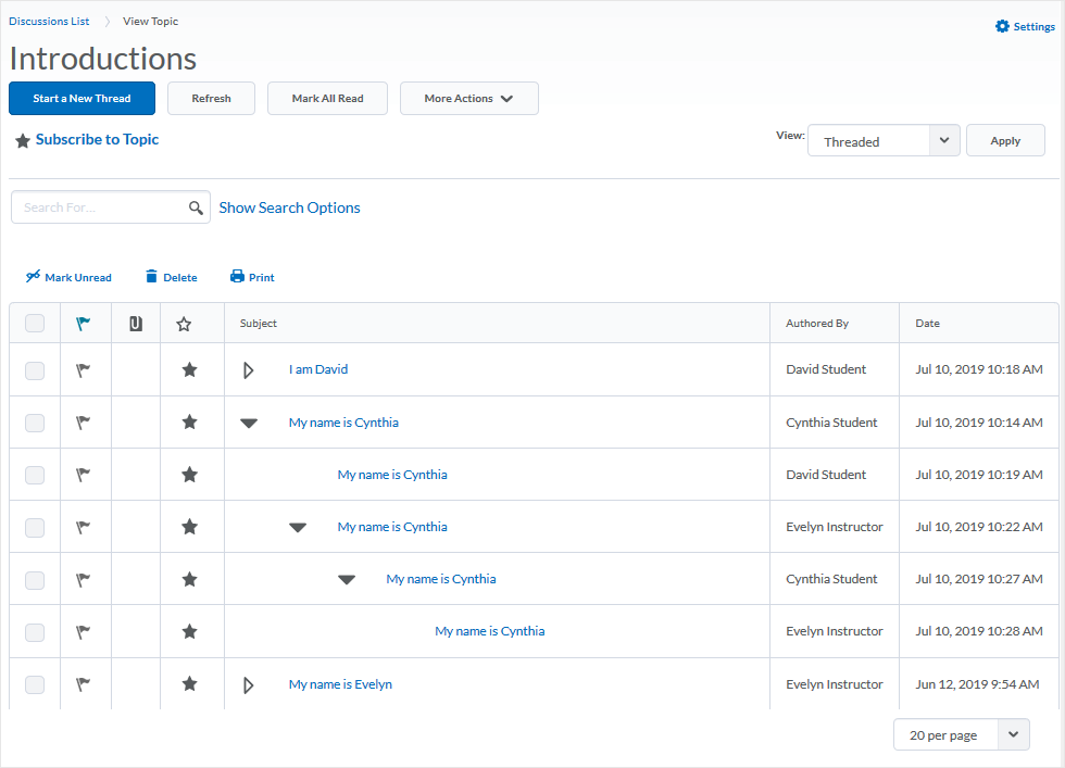 D2L 20.19.6 screenshot - shows Grid view of a Discussions topic