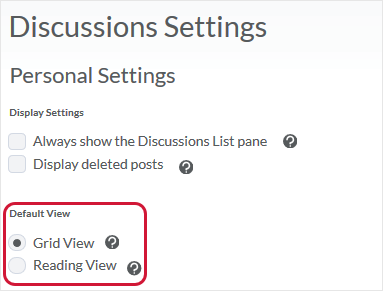 D2L 20.19.6 screenshot - shows how to set the preferences for Grid view (or Reading View) in the Account Settings area as well as of a Discussions topic