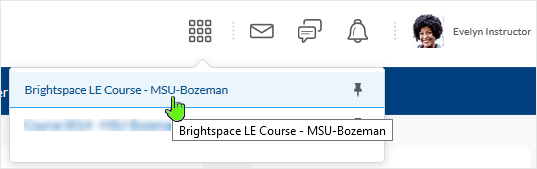 D2L 20.19.05 screenshot - courses display in a drop menu - select a course to enter into by clicking on it's name