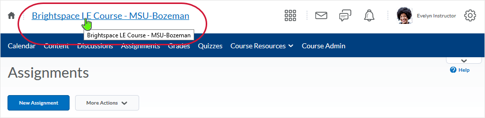 D2L 20.19.05 screenshot - select the course name in the mini-bar to get back to the course home page