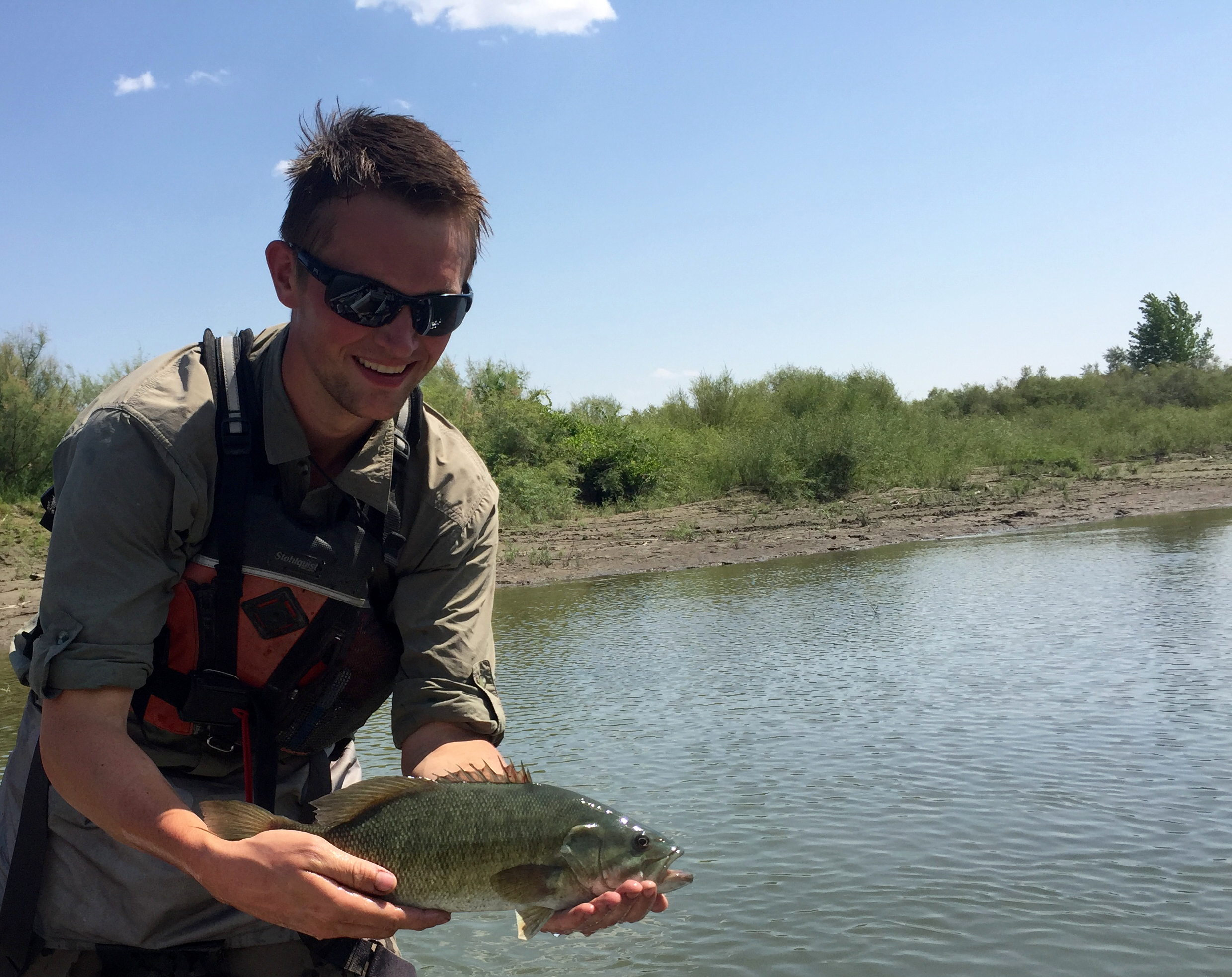 Nick Voss with Smallmouth Bass on Yellowstone River