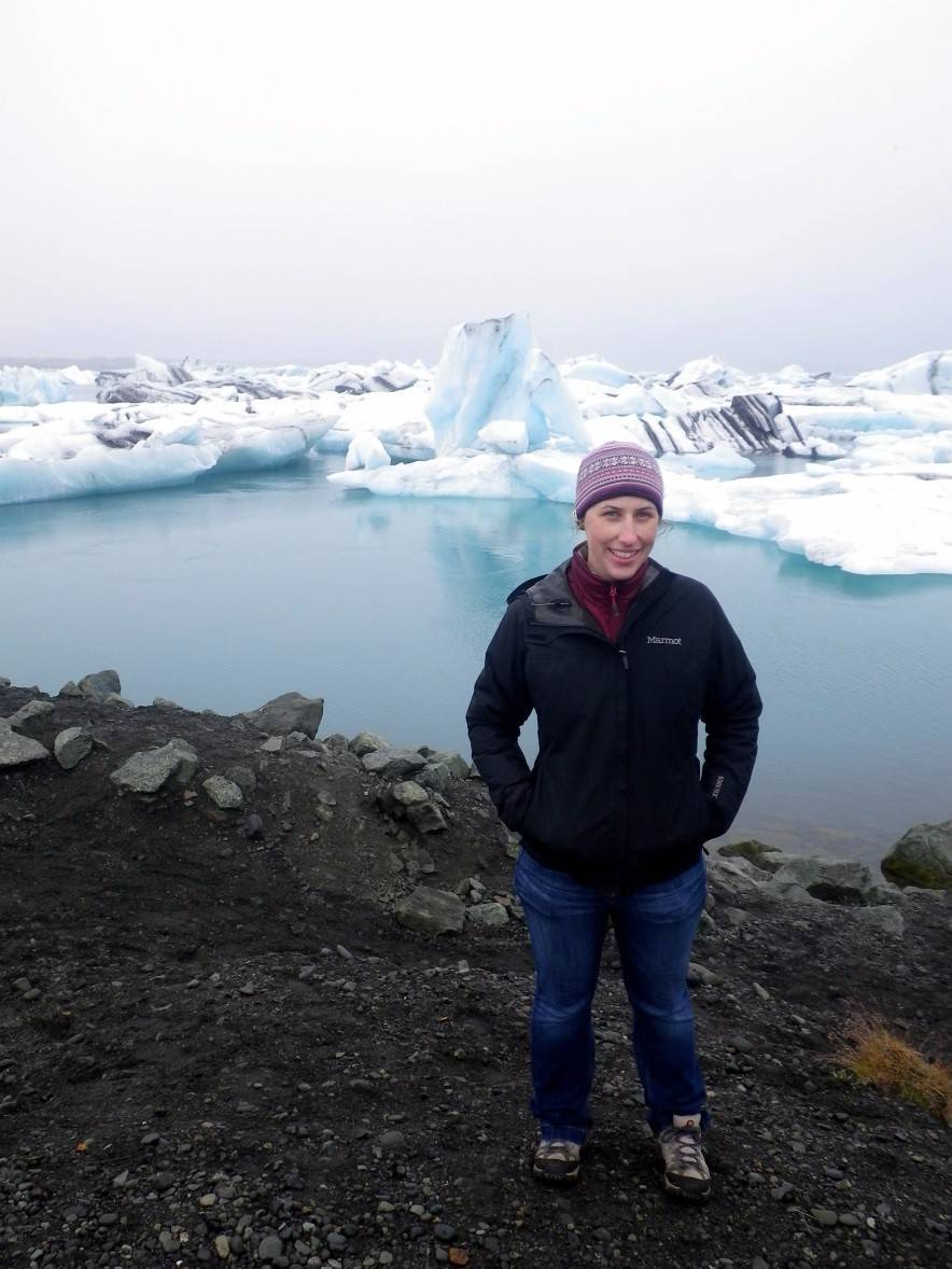 Kate Henderson on glacial ice