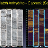 Core samples from the caprock at Kevin Dome under normal light (L) and UV light (R) showing interlamination of crinkly dolomite and bitumen, possible evidence of microbial mats encased in evaporate facies. (D. Bowen, Big Sky Carbon Sequestration Partnership)