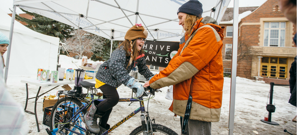 Thrive on Plants and Sustainability Now smoothie bike demo at the 125th Bobcat Birthday Bash