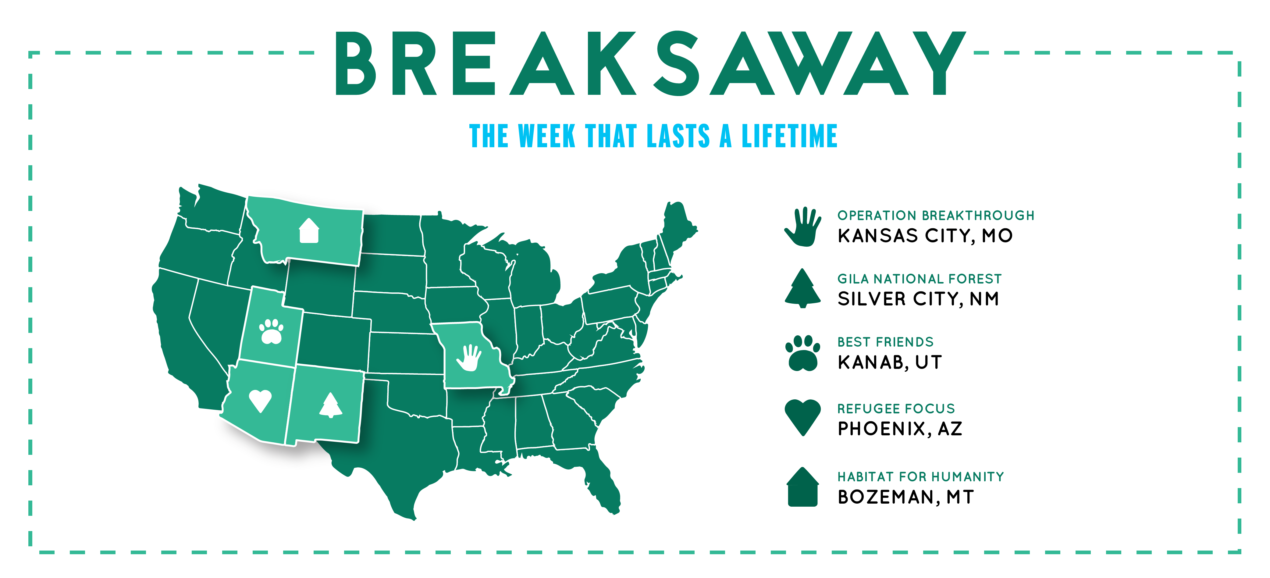 breakaway the week that lasts a lifetime. operation breakthrough Kansas City, mo. gila national forest, nm. best friends, Kanab, ut. refugee focus, Arizona. habitat for humanity Bozeman, mt. registration is open now!