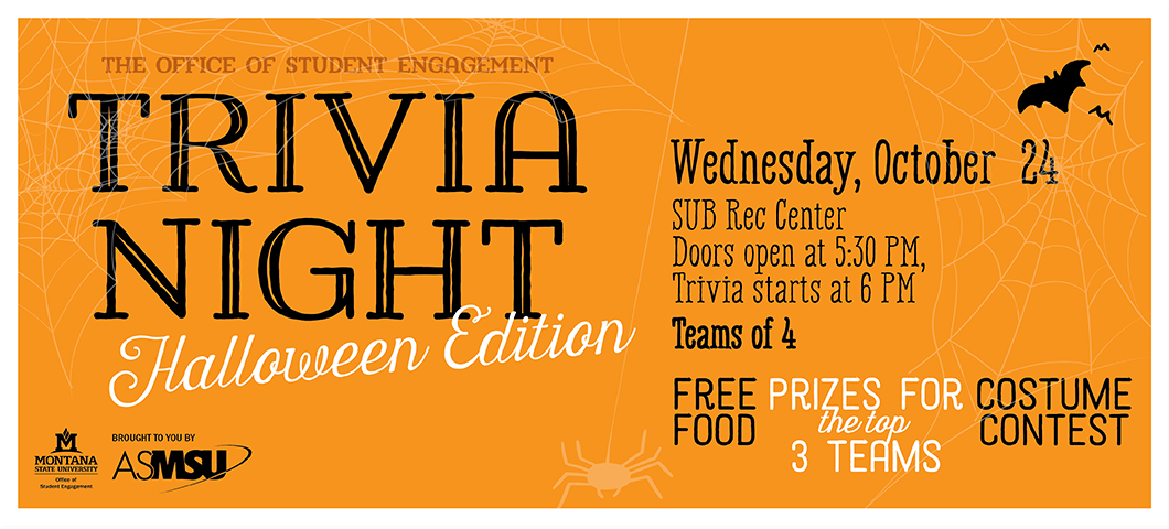 Trivia Night Halloween Edition. Wed Oct 24 doors open at 5:30 trivia starts at 6pm. food and prizes! costume contest