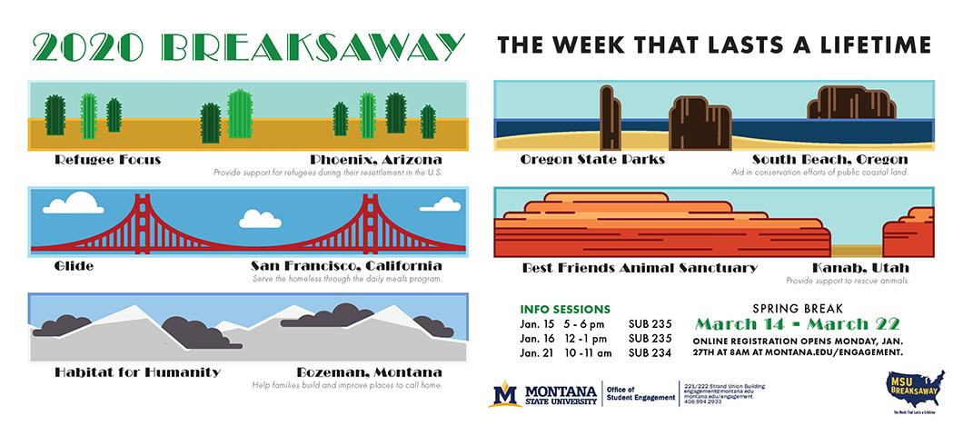 breaksaway 2020 the week that lasts a lifetime. refugee focus- phoenix, glide- san fran, habitat for humanity- Bozeman, Oregon State parks- south beach Oregon, best friends- Kanab. info sessions 1/15 5-6pm sub 235, 1/16 12-1pm sub 235, January 21 10-11am sub 234. march 14-22 online registration opens January 27th at 8am.