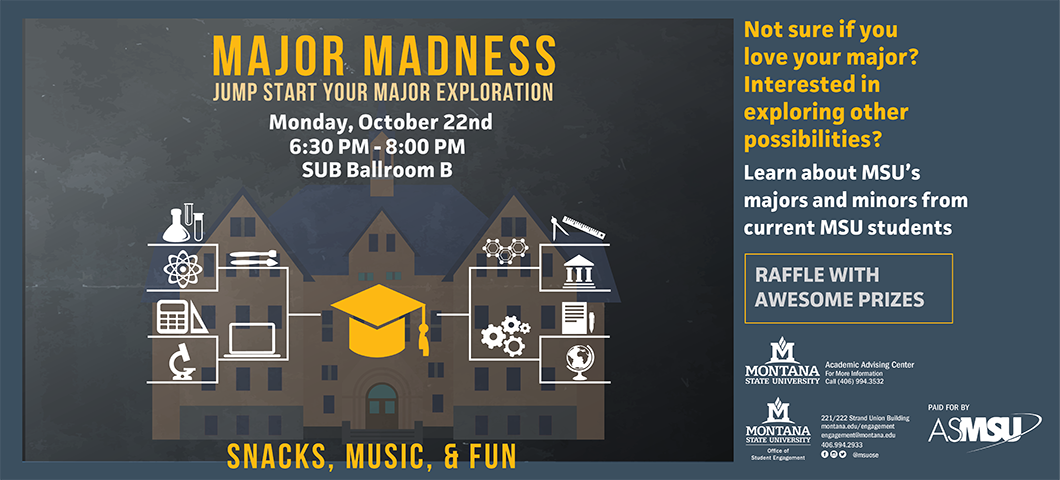 Major Madness Monday Oct 22 6:30-8pm ballroom b. learn about Msu's majors and minors.  awesome prizes!