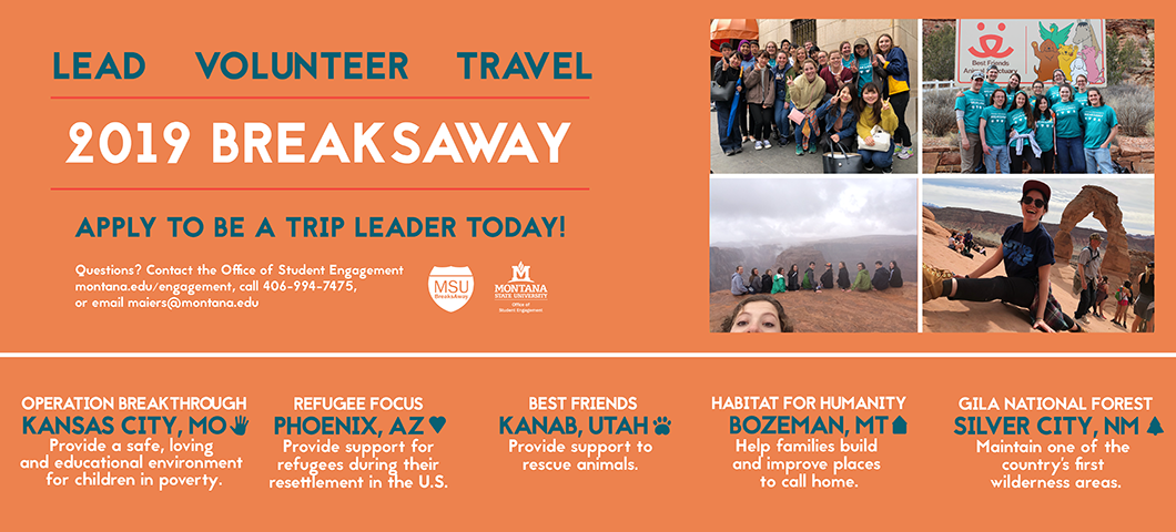 Breaksaway Leader-apply today. Operation Breakthrough, Refugee Focus, Best Friends, Habitat for Humanity, Gila National Forest.