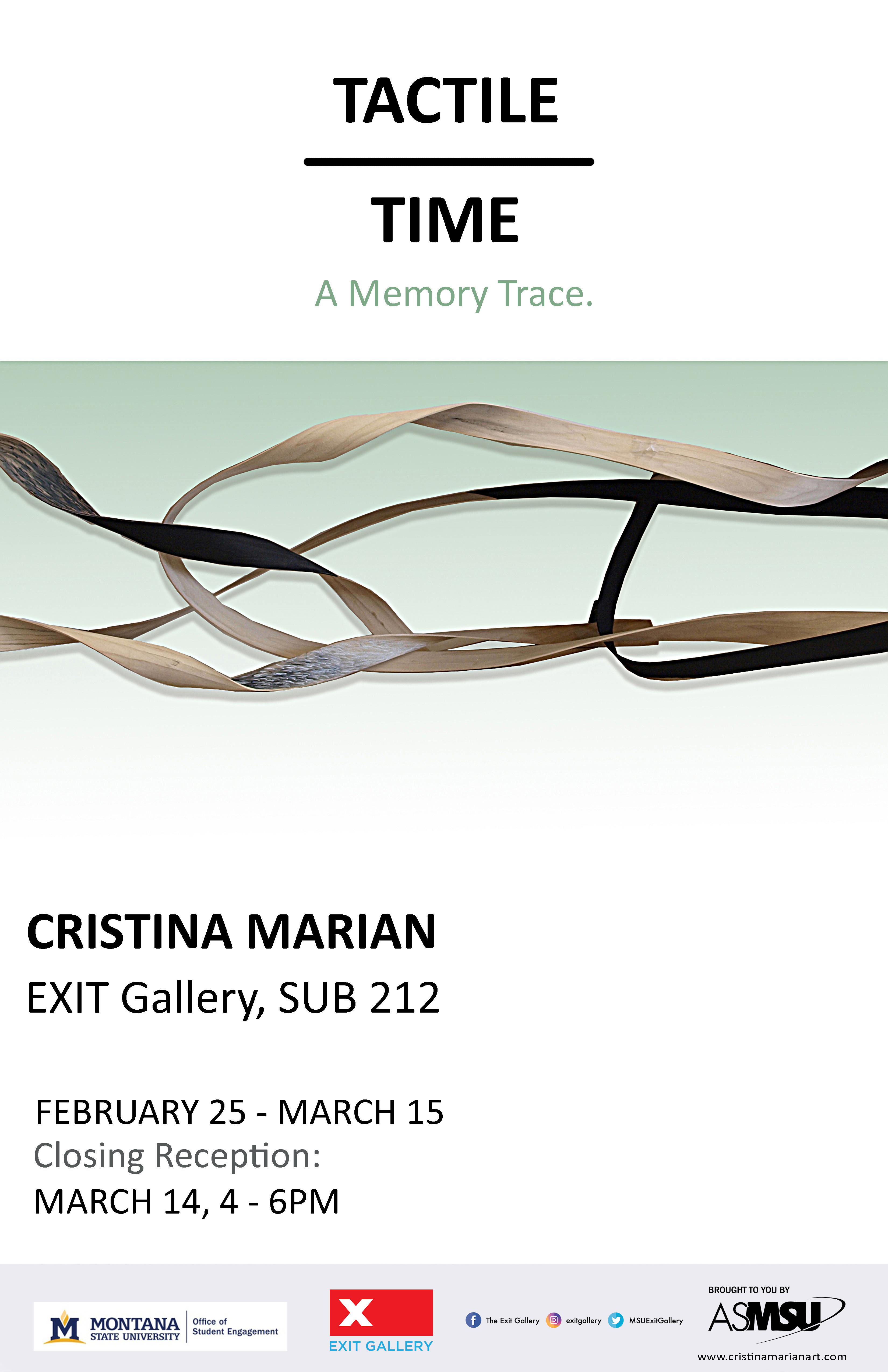 tactile time. Cristina marian feb 25-march 15 closign reception march 14 4-6pm
