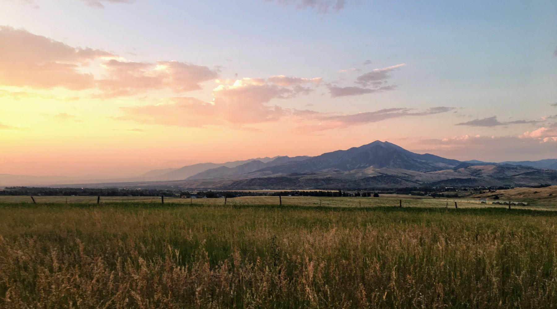Sunset over the Bridger Mountains