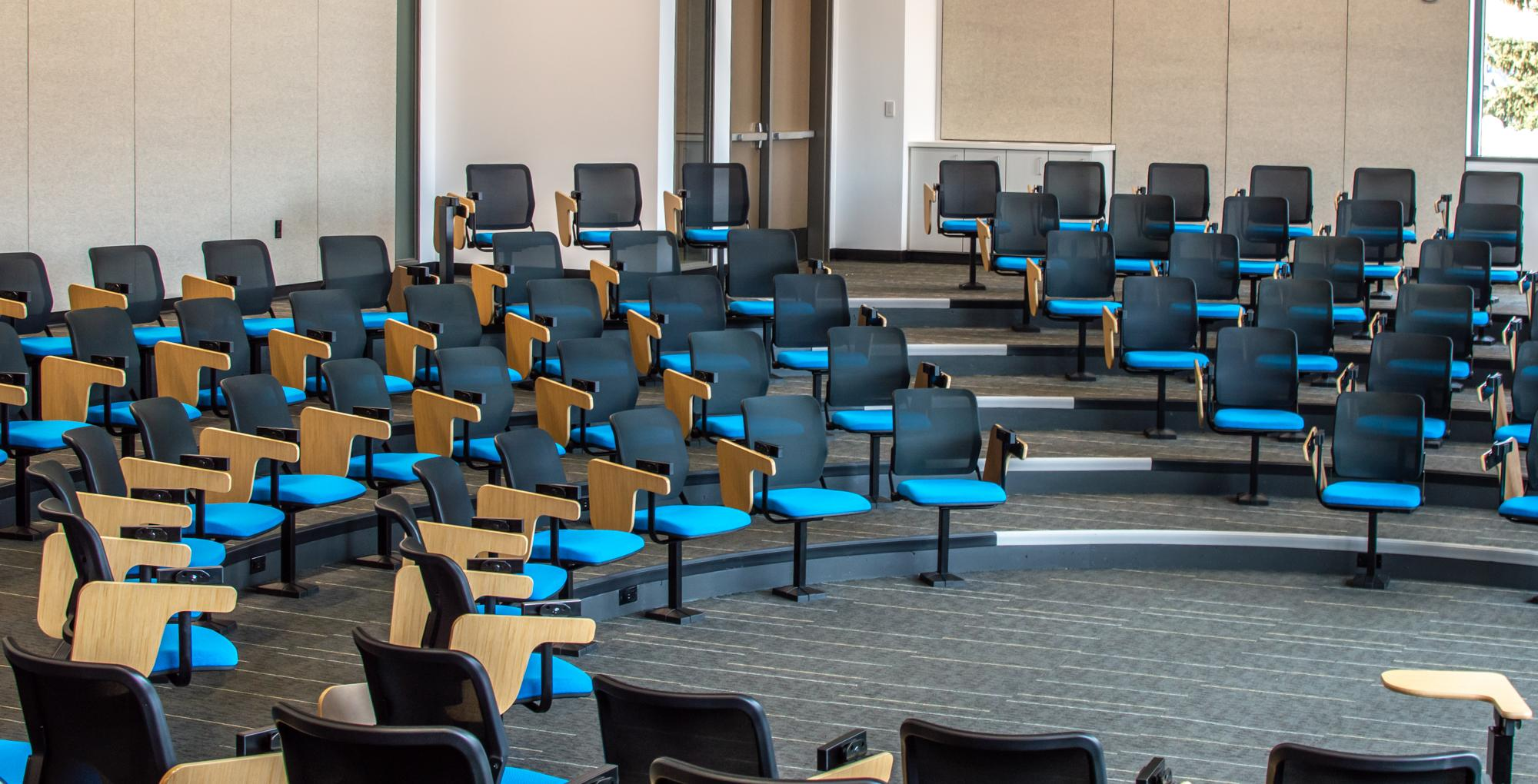 Asbjornson Hall has a round theater-style classroom