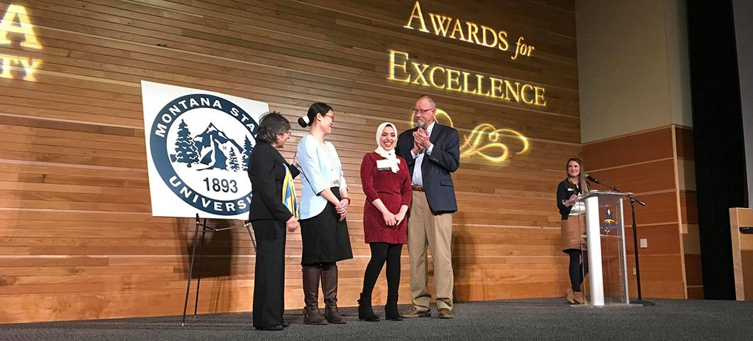 Mona Abdelgaid, an undergraduate lab member, and Dr. Wan-Yuan Kuo, the founder of the Food Product Development Lab and Mona's mentor, are awarded Montana State University Alumni Foundation's Award for Excellence 2019 for Chemical Engineering.