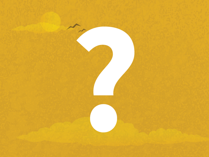 Image of question mark on a golden sky background.