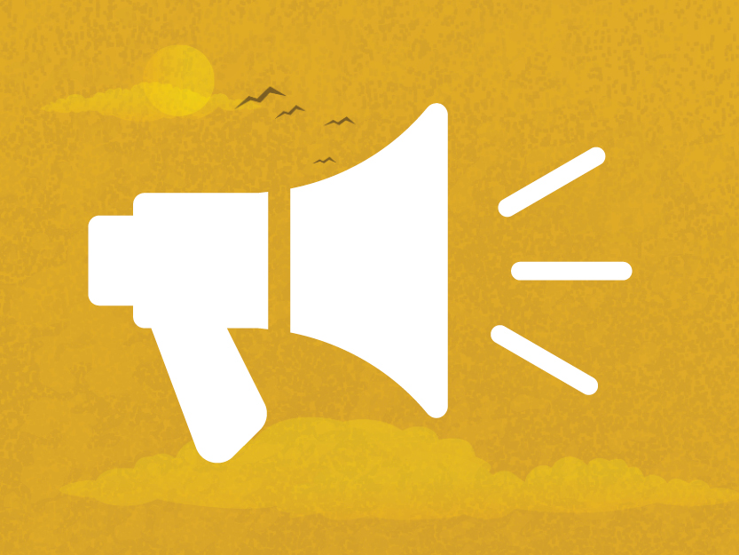 Image of a megaphone on a golden sky background.
