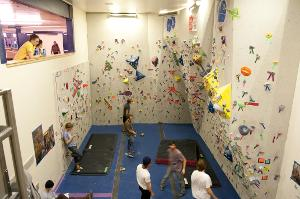 Climbing Wall with lobby overlook
