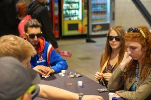 Intramural poker tournament in the lobby.