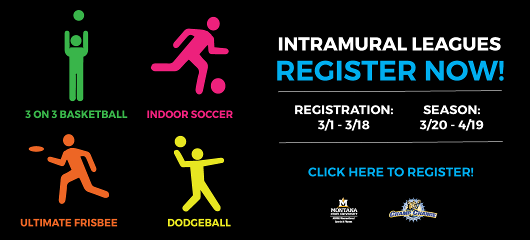 Registration for indoor soccer, 3 on 3 basketball, ultimate frisbee, and dodgeball is now open!